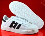 Adidasi barbati albi alb cu dungi negre 40 41 42  43 44, Piele sintetica