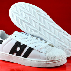 Adidasi barbati albi alb cu dungi negre 40 41 42 43 44, Culoare: Din imagine, Piele sintetica