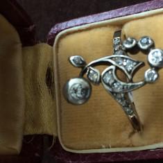 Inel vechi de aur cu diamante - Inel diamant, Carataj aur: 14k, Culoare: Galben