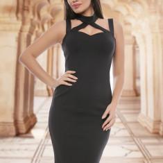 Rochie neagra mulata cu bretele - Rochie de club, Culoare: Negru, Marime: 36, 38, 40, Scurta