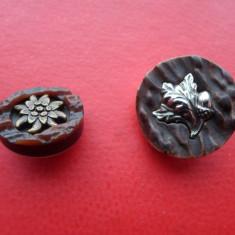Lot 2 nasturi tematica vanatore (Floare de colt si frunze stejar+ghinda)