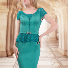 Rochie verde din brocart si dantela - Rochie de seara, Marime: 36, Scurta