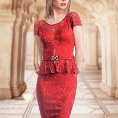 Rochie rosie din brocart - Rochie de seara, Marime: 38, Culoare: Rosu, Scurta, Dantela