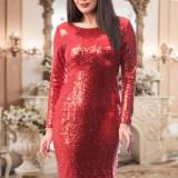 Rochie rosie din paiete