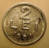 2.396 ROMANIA RPR 2 LEI 1951, Aluminiu