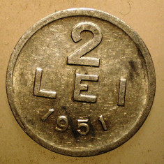 2.396 ROMANIA RPR 2 LEI 1951 - Moneda Romania, Aluminiu