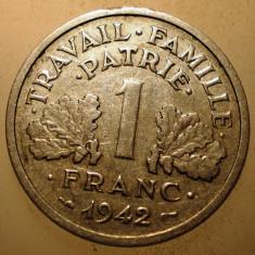 D.195 FRANTA WWII VICHY 1 FRANC 1942 1, 65g RARA, Europa, Aluminiu