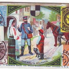 1059 - POSTAS, Timbre, Ethnics, litho - old mini postcard - unused 107/71mm 1893