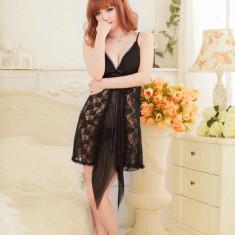 Lenjerie rochie/rochita neagra cu dantela in colturi