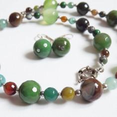 Colier & cercei pietre semipretioase naturale, UNICAT - Set bijuterii handmade si fashion