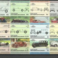 Union Island 1985 - automobile-3, serie neuzata - Timbre straine