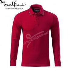 Bluza polo 3XL pentru barbati marca MALFINI, Contrast Stripe LS - Bluza XXXL, Culoare: Rosu
