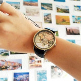 Ceas cu secundar avion si cadran harta lumii Globetrotter Black