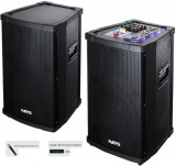 SISTEM PROFESIONAL 2 BOXE ACTIVE,MIXER,MP3 PLAYER,500WATT,2 MICROFOANE WIRELESS.