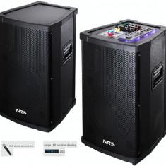 SISTEM PROFESIONAL 2 BOXE ACTIVE,MIXER,MP3 PLAYER,500WATT,2 MICROFOANE WIRELESS.