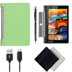 Pachet Accesorii pentru tableta Lenovo Yoga 3 YT3-X50M, YT3-X50F BOOK VERDE 10.1 inch - Husa Tableta Oem