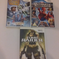 LOT 3 jocuri - Star Wars - Marvel - Tomb Raider - Nintendo Wii [Second hand] - Jocuri WII, Board games, 3+, Multiplayer