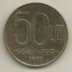 ROMANIA 50 LEI 1992 [2] livrare in cartonas - Moneda Romania, Fier