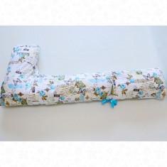 Perna pentru gravide si alaptare tip Bastonas model albastru cu scrisori - Perna alaptat