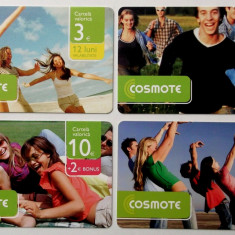 ROMANIA LOT / SET 4 cartele Cosmote  3 5 10 20 euro - PENTRU COLECTIONARI **