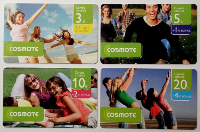 ROMANIA LOT / SET 4 cartele Cosmote  3 5 10 20 euro - PENTRU COLECTIONARI **
