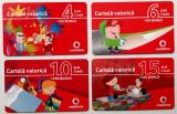 ROMANIA LOT / SET 4 cartele Vodafone 4 6 10 15 euro - PENTRU COLECTIONARI **