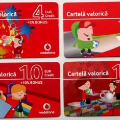 ROMANIA LOT / SET 4 cartele Vodafone 4 6 10 15 euro - PENTRU COLECTIONARI ** - Cartela GSM