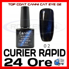 TOP COAT CANNI CAT EYE 02 ALBASTRU 7.3ML - LUCIU FINAL - MANICHIURA GEL UV