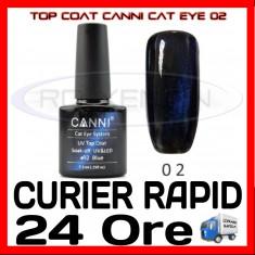 TOP COAT CANNI CAT EYE 02 ALBASTRU 7.3ML - LUCIU FINAL - MANICHIURA GEL UV