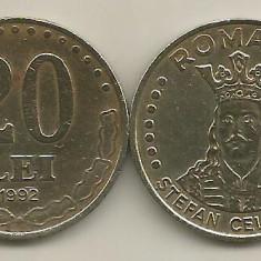 ROMANIA   20  LEI  1992    [2]    livrare  in cartonas
