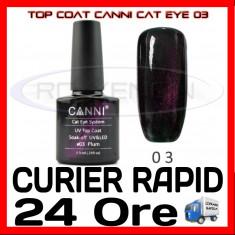 TOP COAT CANNI CAT EYE 03 PURPURIU 7.3ML - LUCIU FINAL - MANICHIURA GEL UV