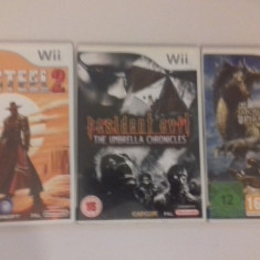 LOT 3 jocuri - Resident Evil Red Steel 2 Monter Hunter - Nintendo Wii [Second h] - Jocuri WII, Sporturi, 3+, Multiplayer