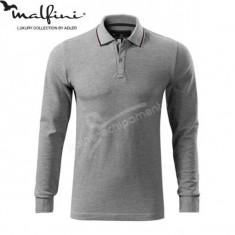 Bluza polo 3XL pentru barbati marca MALFINI, Contrast Stripe LS - Bluza XXXL, Culoare: Gri