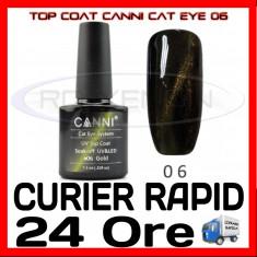 TOP COAT CANNI CAT EYE 06 AURIU 7.3ML - LUCIU FINAL - MANICHIURA GEL UV