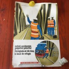 Vintage / Afis protectia munciii tematica CFR perioada comunista model deosebit - Reclama Tiparita
