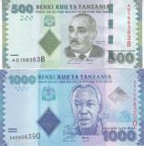 Bancnota Tanzania 500 si 1,000 Shilingi 2011 - P40/41 UNC ( set x2 bancnote )