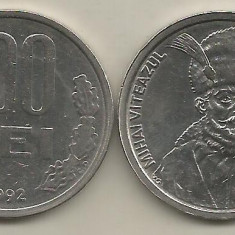ROMANIA   100  LEI  1992    [1]  XF , 99 -  drepte ,   livrare  in cartonas, Fier