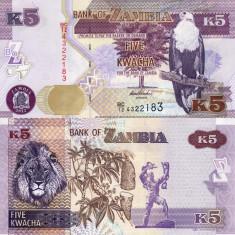 ZAMBIA 5 kwacha 2012 UNC!!! - bancnota africa