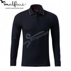 Bluza polo 3XL pentru barbati marca MALFINI, Contrast Stripe LS - Bluza XXXL, Culoare: Negru