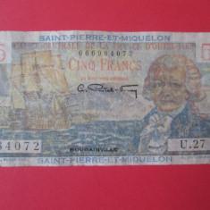 Rara! Saint-Pierre-Et-Miquelon, Teritoriile Franceze de peste mari 5 Francs 1950