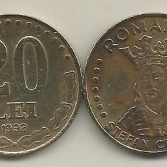 ROMANIA 20 LEI 1992 [3] livrare in cartonas - Moneda Romania, Fier