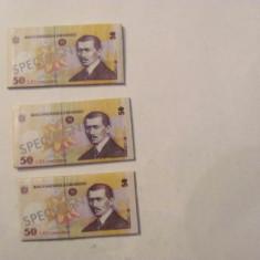 "CY - Lot 3 abtibilduri 4 cm x 2 cm ""50 lei Romania SPECIMEN"""