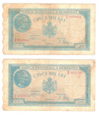 SV * Romania LOT 4 x 5000  LEI  1944 - 1945   DATE  DIFERITE     +/- F