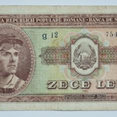10 lei, 1952 Romania RPR - serie albastra, in stare VF - Bancnota romaneasca