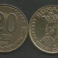 ROMANIA 20 LEI 1993 [1] XF+ / a UNC, livrare in cartonas - Moneda Romania, Fier