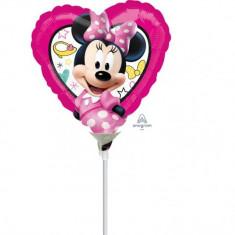 Balon mini figurina Minnie Mouse - 23 cm, umflat + bat si rozeta, Amscan 36234 - Baloane copii