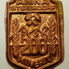 I.291 INSIGNA ROMANIA ANINA STEIERDORF MINERIT 200 REBUT h22mm