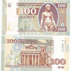 !!! SAN MARINO = FANTASY NOTE = 100 LIRE 2018 - UNC/ SERIE FOARTE MICA - bancnota europa