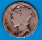 (A191) MONEDA DIN ARGINT SUA - ONE DIME 1918, MERCURY, NECURATATA, America de Nord