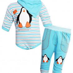 Set albastru cu model pinguin din 3 piese, Marime: 1-3 luni, 3-6 luni